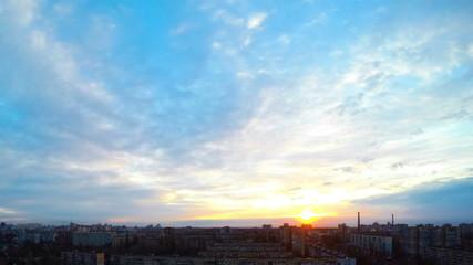 Sunrise over the City. Timelapse