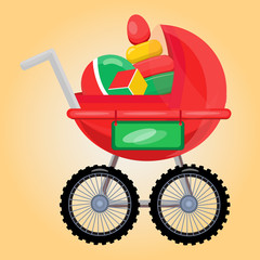 Baby carriage with toys.