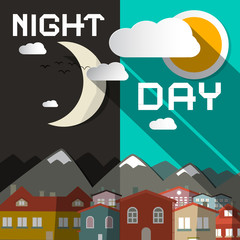 Night and Day Vector Illustration with Mountain City