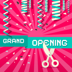Retro Grand Opening Vector Illustration with Confetti