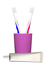 Toothbrushes in glass and toothpaste isolated on white