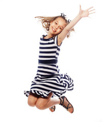 girl jumps on a white background