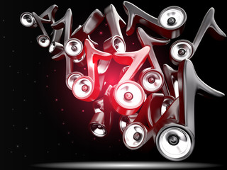 Audio speaker system in note sign. Background, 3D