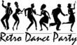 Retro dance party silhouette - 80475201