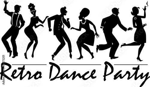 Naklejka Retro dance party silhouette