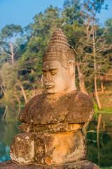 khmer statue south gate bridge Angkor Thom Cambodia