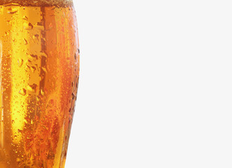 Glass of light beer  with place for text