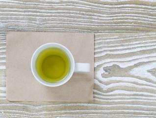 Green Tea on Aged Wood