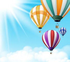 Realistic Colorful Hot Air Balloons Background Flying