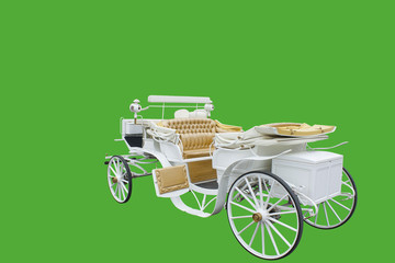 vintage carriage isolated on green