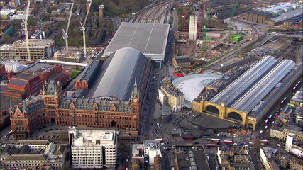 Aerial view over Kings Cross railway station in London
