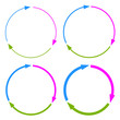 Three part arrows circle