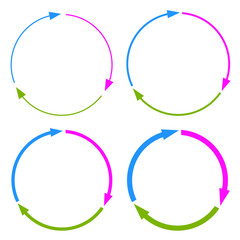 Three part arrows circle