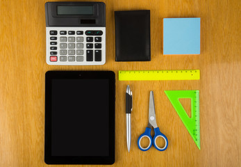 Calculator, tablet PC and stationery