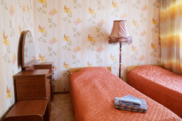 Two beds in motel room