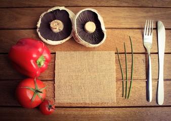 Vegetarian, organic, menu template
