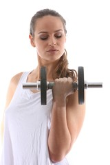 young woman with dumbbell (white background)