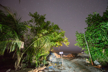 Garbage collection on a tropical island. Night view with vegetat