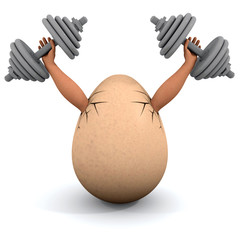 Egg holds a dumbbells