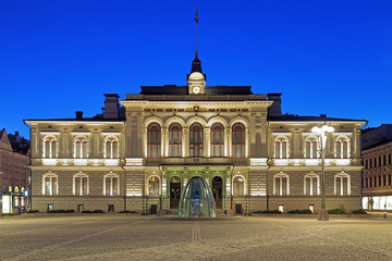 Evening view of the Tampere City Hall, Finland