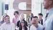 Cheerful diverse business group at business presentation or training seminar