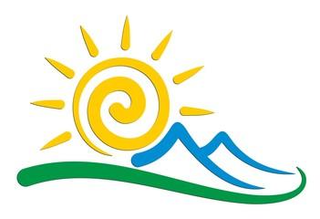 Sun and mountains logo