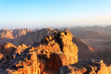 Sinai desert and mountains at dawn