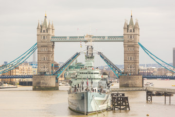 Tower Bridge in London with drawbridge open
