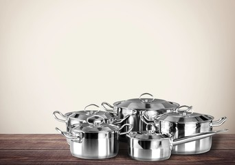 Pot. Stainless steel pots and pans isolated on white background