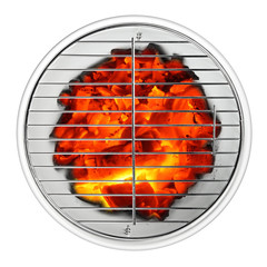empty grill with glowing charcoal