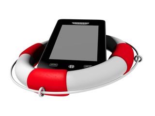 3d Modell Handy mit Rettungsring