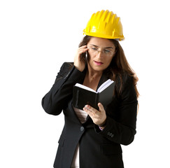 female engineer with pocket diary and smart phone