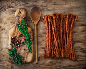 Dried sausage with herbs.