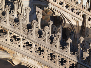 Detail of Gothic Cathedral of Milan, Italy.