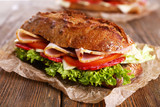 Fresh and tasty sandwiches with ham and vegetables