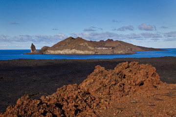 Beautiful scenic landscape of Bartlome island in Galapagos