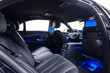 Car interior black with blue ambient light
