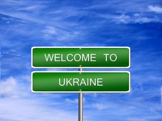 Ukraine Welcome Travel Sign