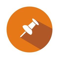 Icono chincheta naranja botón sombra