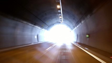 Tunnel road high speed fast driving