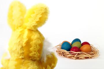 Coniglio di spalle e uova colorate