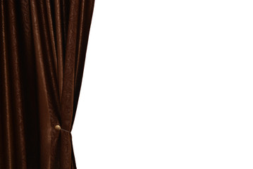 Brown curtain with white space for text