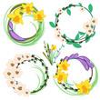 Set of spring cartoon vector flowers