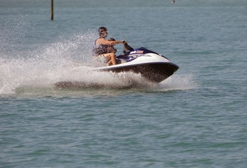 Father and Toddler on a Jetski