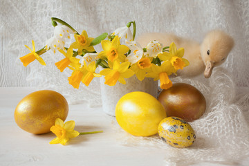 Easter eggs flowers narcissus duckling