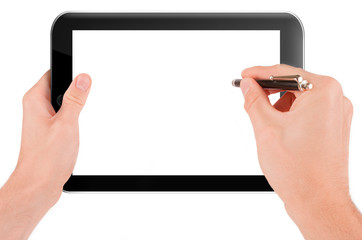 Hand holding a tablet pc computer with blank screen isolated