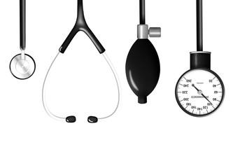 Stethoscope and sphygmomanometer isolated