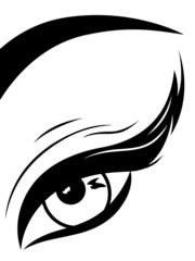 Eye with fluffy eyelid close-up