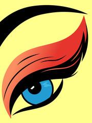 Colourful eye with fluffy eyelid close-up