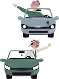 Enraged drivers, vector cartoon characters, isolated poster